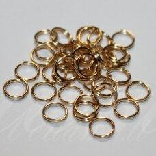 MD0015.1 apie 6 x 0.7 mm, rusiško aukso spalva, dvigubas žiedelis, apie 200 vnt.