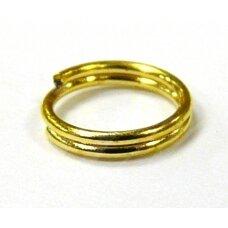 MD0043 apie 7 x 0.7 mm, auksinė spalva, dvigubas žiedelis, apie 100 vnt.