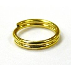 md0046 apie 10 mm, auksinė spalva, dvigubas žiedelis, apie 38 vnt.
