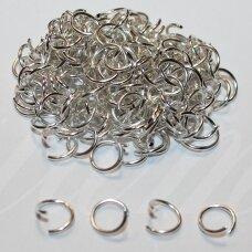 md0056.2 apie 7 x 0.9 mm, sidabrinė spalva, viengubas žiedelis, apie 250 vnt.