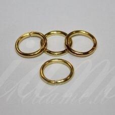md0091 apie 6 x 0.7 mm, auksinė spalva, viengubas žiedelis, apie 300 vnt.