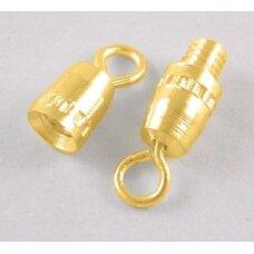 md0220 apie 16 x 4 mm, auksinė spalva, užsukamas užsegimas, 4 vnt.