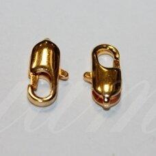 md0232.5 apie 14 x 7 mm, auksinė spalva, užsegimas, 4 vnt.