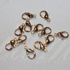 MD0260 apie 14 x 8 mm, rusiško aukso spalva, užsegimai, apie 14 vnt.
