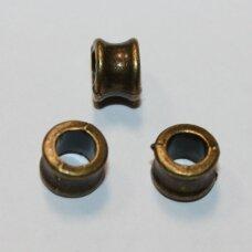 md0846 apie 6 x 8 mm, žalvario spalva, apvali forma, intarpas, 10 vnt.