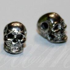md0921 apie 8 x 5 x 6 mm, metalo spalva, intarpas, kaukolės forma, 2 vnt.