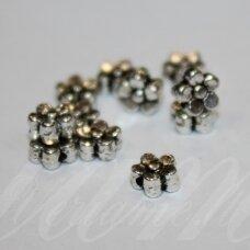 md0932 apie 6 x 3 mm, metalo spalva, žiedelis, intarpas, 20 vnt.