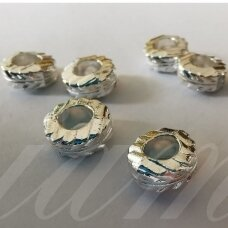 md1272 about 4 x 9 mm, silver color, insert, 8 pcs.