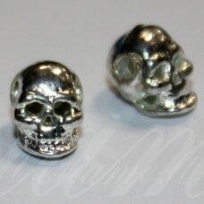 md1159 apie 8 x 5 x 6 mm, sidabrinė spalva, intarpas, kaukolės forma, 2 vnt.