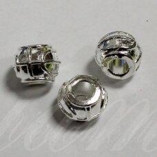 MD1211 apie 9.5 x 11.5 mm, skylių,4.5 mm, sidabro spalva, intarpas, 3 vnt.