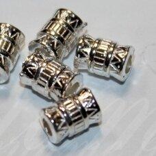 md1218 apie 8 x 5.5 mm, sidabrinė spalva, intarpas, 16 vnt.