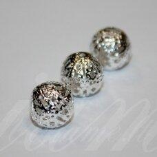 MD1263 apie 12 mm, sidabro spalva, apvali forma, intarpas, 12 vnt.