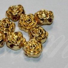 md1397.1 apie 6 x 4 mm, šviesi, auksinė spalva, intarpas, 18 vnt.