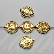 md1400.7 apie 12 x 10 x 3 mm, šviesi, auksinė spalva, intarpas, 6 vnt.