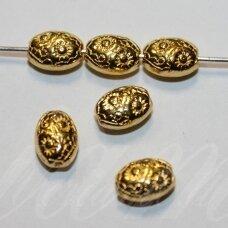 MD1403.7 apie 8 x 6 x 4 mm, šviesi, aukso spalva, intarpas, 10 vnt.