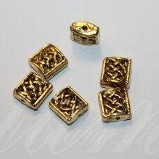md1404.5 apie 8 x 7.5 x 3 mm, sendinta auksinė spalva, intarpas, 16 vnt.