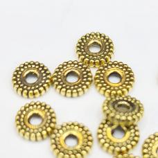 md1405 apie 2 x 7.5 mm, sendinta auksinė spalva, intarpas, 20 vnt.