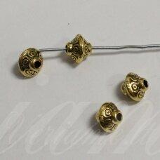 md1407.5 apie 6 x 7 mm, sendinta auksinė spalva, intarpas, 6 vnt.