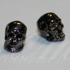 md1460.5 apie 8 x 5 x 6 mm, juoda spalva, intarpas, kaukolės forma, 2 vnt.