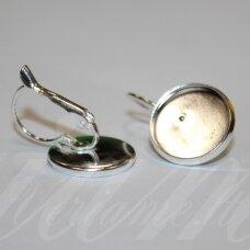 md1612 apie 25 x 16 mm, sidabrinė spalva, auskaro detalė, tinka 14 mm disko formos kabošonui, 2 vnt.