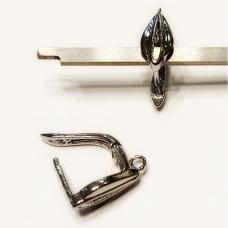 md1704 apie 19 x 12 mm, metalo spalva, auskaro detalė, 2 vnt.
