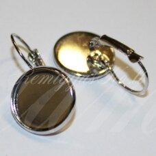 MD1705 apie 25 x 16 mm, metalo spalva, auskaro pagrindas, 14 mm kabošonui, 1 porų.