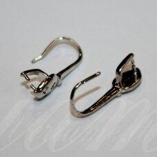 MD1709 apie 23 x 8 mm, metalo spalva, auskaro kabliukas, 2 porų.