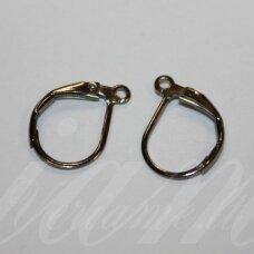 md1804 apie 15 x 10 mm, juoda spalva, angliškas auskaro užsegimas, 8 vnt.