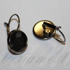 md1832 apie 24 x 14 mm, juoda spalva, auskaro detalė, tinka 12 mm disko formos kabošonui, 2 vnt.