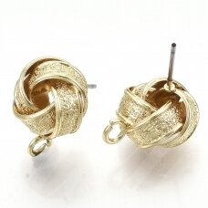md1856 apie 15.5~16.5x12.5mm, geležiniai, auksinė spalva, auskaro detalė, 2 vnt.