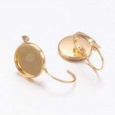 md1880.6 apie 25 x 14 mm, žalvarinė, auksinė spalva, auskaro detalė, tinka 12 mm disko formos kabošonui, 2 vnt.