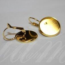 md1881 apie 30 x 18 mm, žalvarinis, auksinė spalva, auskaro detalė, tinka 16 mm disko formos kabošonui, 2 vnt.