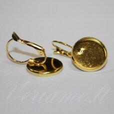 MD1889 apie 25 x 16 mm, aukso spalva, auskaro pagrindas, 14 mm kabošonui, 1 porų.