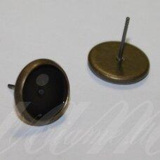 MD1928.8 apie 12 x 14 mm, žalvario spalva, auskaro pagrindas, 12 mm kabošonui, 2 poros.