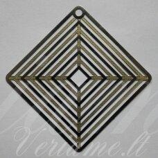 md1959.5 apie 57 x 0.2 mm, apvali forma, auksinė spalva, metalo spalva, ažūrinis pakabukas, 2 vnt.