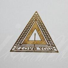MD1996.5 apie 30 x 0.3 mm, trikampio forma, aukso spalva, ažūrinis  pakabukas, 1 porų.