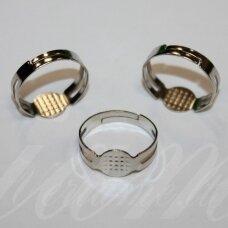 md2001 apie 18 mm, metalo spalva, žiedo pagrindas, tinka 8 mm disko formos kabošonui, 7 vnt.