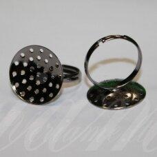 md2021 apie 20 mm, žiedo pagrindas, juoda spalva, 2 vnt.
