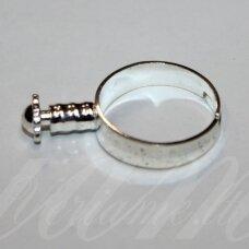 md2029 apie 27 x 19 mm, sidabrinė spalva, žiedo pagrindas, trolio / pandoros karoliukui, 1 vnt.