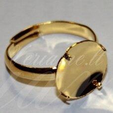 md2036 apie 13 mm, auksinė spalva, žiedo pagrindas, tinka 12 mm disko formos kabošonui, 2 vnt.