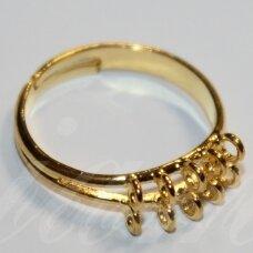 md2041 apie 20 mm, žiedo pagrindas, reguliuojamas dydis, auksinė spalva, 1 vnt.