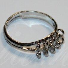 md2042 apie 20 mm, žiedo pagrindas, reguliuojamas dydis, metalo spalva, 1 vnt.