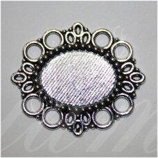 md2190 apie 43 x 37 mm, metalo spalva, rėmelis, tinka 23 x 17 mm ovalo formos kabošonui, 2 vnt.
