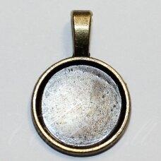 md2221.5 apie 28 x 19 mm, rėmelis, žalvario spalva, tinka 16 mm disko formos kabošonui, 3 vnt.