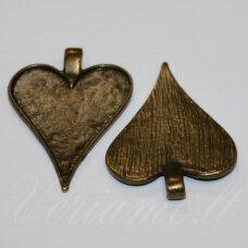 md2236.5 apie 48 x 35 mm, širdutės forma, žalvario spalva, rėmelis, 2 vnt.