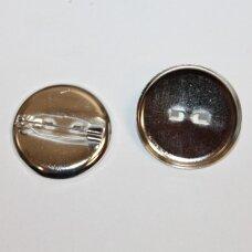 md2262.4 apie 24 mm skersmuo, sidabrinė spalva, sagės pagrindas, 8 vnt.