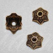 MD2807.5 apie 8 x 4 mm, sendinto aukso spalva, kepurėlė, 30 vnt.
