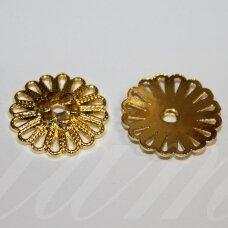 md2797.7 apie 23 x 4 mm, šviesi, auksinė spalva, kepurėlė, 4 vnt.