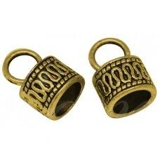 MD2813.2 apie 15 x 10 mm, skylių,apie 7 mm, sendinto aukso spalva, kepurėlė, 3 vnt.
