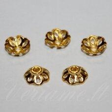 md2818 apie 3 x 8 mm, šviesi, auksinė spalva, kepurėlė, apie 24 vnt.